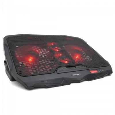 CROWN Подставка для ноутбука CMLS-01 black ( до 17, кулеры: D125mm*2+ D70mm*2,красная led подсветка, регулятор скорости, 5 уровней наклона Размер 390*280*28мм)
