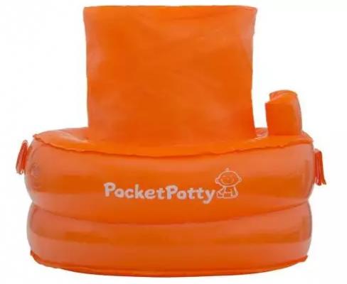 Купить Надувной дорожный горшок со сменными пакетами оранж, PocketPotty, оранжевый, ПВХ, полиэтилен, унисекс, Интерактивные игрушки