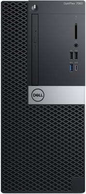 ПК Dell Optiplex 7060 MT i7 8700 (3.2)/16Gb/1Tb 7.2k/UHDG 630/DVDRW/Windows 10 Professional/GbitEth/2000W/клавиатура/мышь/черный/серебристый системный блок dell optiplex 3050 sff i3 6100 3 7ghz 4gb 500gb hd620 dvd rw linux клавиатура мышь черный 3050 0405