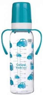 Купить Бутылочка тритановая (BPA 0%) (11/815) с ручками с сил. Соской, 250 мл. 12+, Canpol, бирюзовый, для мальчика, для девочки, Бутылочки для кормления
