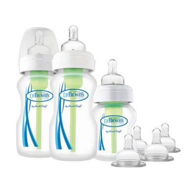 купить Набор из трех бутылочек противоколик. с широким горлышком (2шт. - 270 мл. + 1шт. 150 мл. + 4 соски) по цене 1800 рублей