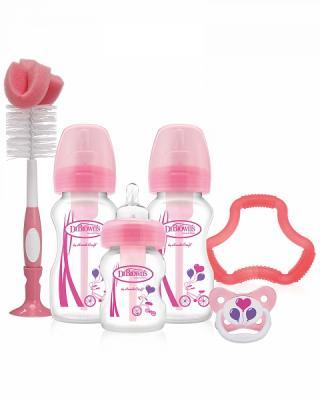 Купить Набор из трех бутылочек противоколик. с широким горлышком, розовых (2шт. - 270 мл. + 1шт. - 150 мл., Dr. Brown, розовый, для девочки, Бутылочки для кормления