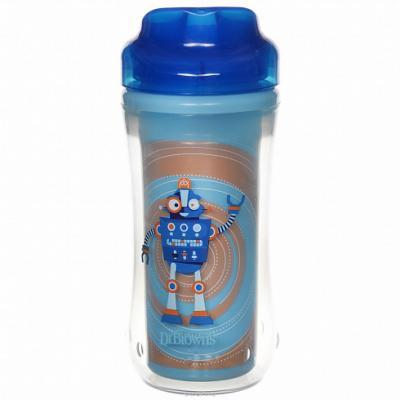 Купить Контейнер Dr.Brown's Чашка-термос 300 мл 1 шт синий от 1 года УТ-0000151, Детская посуда для кормления