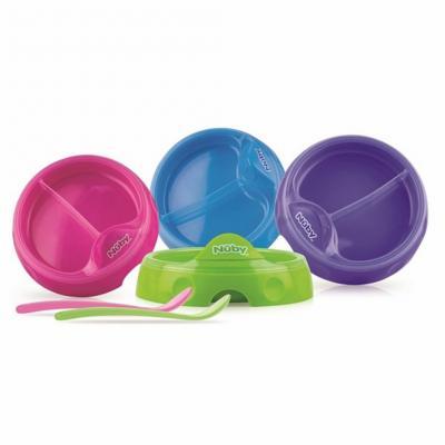 Набор для кормления Nuby Тарелочка двухсекционная с ложкой 1 шт от 6 месяцев 00-0015151 nuby purple green для твердых продуктов
