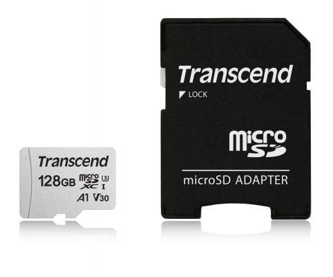 Фото - Карта памяти micro SDXC 128Gb Transcend 300S UHS-I U3 V30 A1 + ADP (90/45 Mb/s) карта памяти lexar micro sdxc 64gb professional 1066x uhs i u3 v30 a2 adp 160 70 mb s