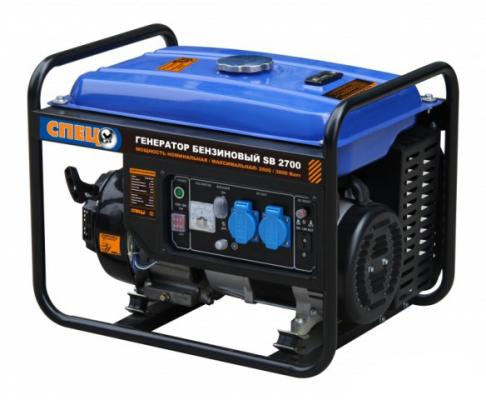 СПЕЦ-SB-2700 Генератор бенз { 1фаз,ном/макс=2,5кВт/2,8кВт, 7л.с.,бак 15л } генератор бензиновый спец sb 950