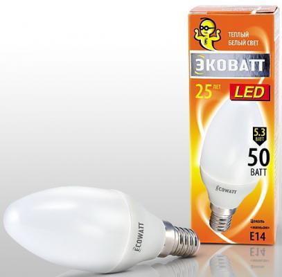 Лампа светодиод. ECOWATT B35 230В 5.3(50)W 2700K E14 (миньон) теплый белый свет свеча лампа светодиод ecowatt b35 230в 4 7 40 w 4000k e14 миньон холодный белый свет свеча