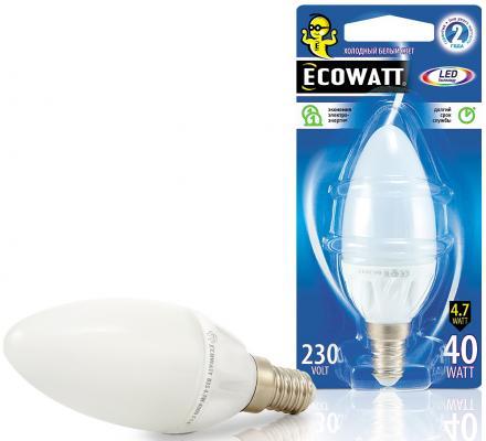 все цены на Лампа светодиод. ECOWATT B35 230В 4.7(40)W 4000K E14 (миньон) холодный белый свет, свеча онлайн