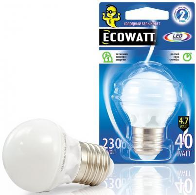 Лампа светодиодная ECOWATT P45 230В 4.7(40)W 4000K E27 холодный белый свет, шарик nvc nvc освещение светодиодная лампа high power lamp highlight энергосбережение теплый белый 4000k bulb 20w