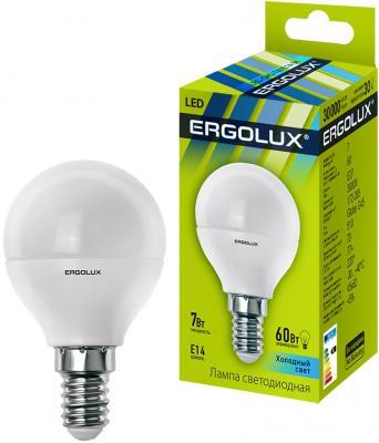 Лампа светодиодная ERGOLUX 12144 LED-G45-7W-E14-4K Шар 7Вт E14 4500K 172-265В цены