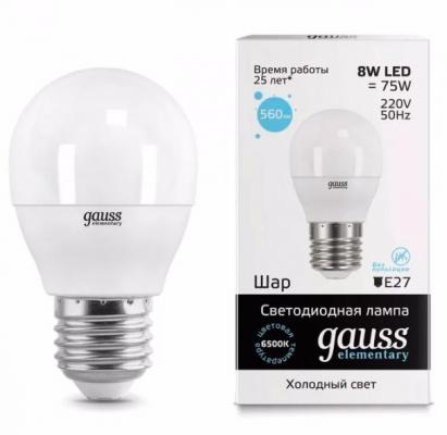 Лампа GAUSS 53238 led elementary globe 8w e27 6500k 1/10/100 3mean well original elg 100 c1400d 75v 1400ma meanwell elg 100 75v 100 8w single output led driver power supply d type