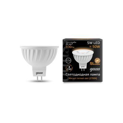 Лампа светодиодная GAUSS 201505105 LED MR16 GU5.3 5W 12V 2700K цены онлайн