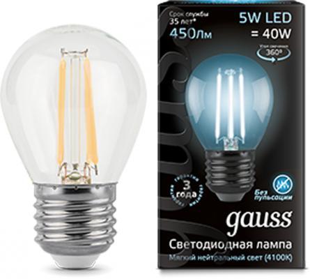 Лампа светодиодная GAUSS 105802205 LED Filament globe Е27 5Вт 4100k 1/10/50