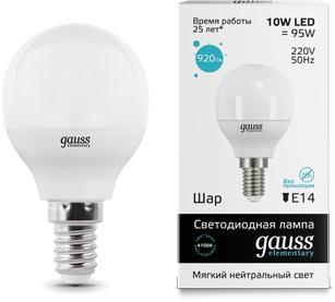 Лампа GAUSS 53120 led elementary globe 10w e14 4100k 1/10/100 лампочка gauss elementary gu10 mr16 9w 660lm 4100k 13629