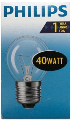 Лампа накаливания шар Philips P45 E27 40W 2700K ультрафиолетовая лампа philips tl d18 08 60cm tube t8