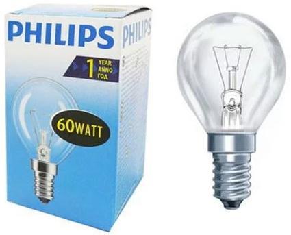 Лампа накаливания PHILIPS P45 60W E14 CL шарик прозрачный philips лампа philips nr50 40w e14 054159