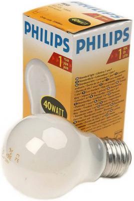 Лампа накаливания PHILIPS A55 40W E27 FR груша матовая лампа накаливания philips e14 60w р45 шар fr матовая