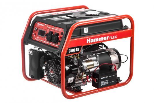 Бензоэлектростанция Hammer Flex GN4000E электрозапуск 3.5КВт 220В 50Гц бак 20л непр.9ч