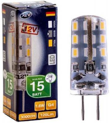 Лампа светодиодная REV RITTER 32366 2 1.6Вт G4 120лм 4000К холодный свет лампа светодиодная rev нейтральный свет цоколь g4 2w