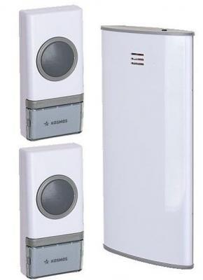 Звонок беспроводной КОСМОС KOC_AG307C2 32 мелодии, 150м, белый, 2 кнопки звонок беспроводной evology c 301 ru evology цвет белый