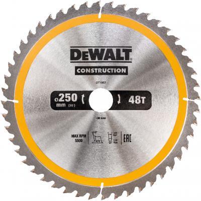 Круг пильный твердосплавный DEWALT DT1957-QZ Ф250/30 48 ATB +10° CONSTRUCTION по дереву с гвоздями пильный диск construct 305х30 мм 48 atb dewalt dt1959