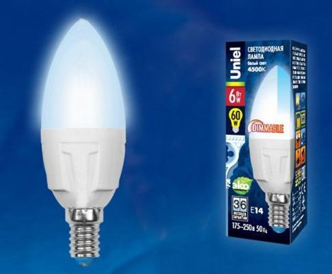 Лампа светодиодная UNIEL LED-C37-6W/NW/E14/FR/DIM PLP01WH диммируемая форма свеча матовая лампа светодиодная ul 00001067 e27 6w 4000k свеча матовая led c37 6w nw e27 fr o