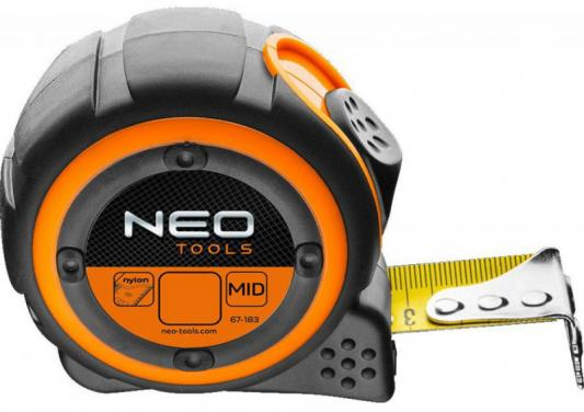 Рулетка NEO 67-185 стальная лента 5м x 25мм магнит рулетка кобальт оптима 646 744 5м x 25мм