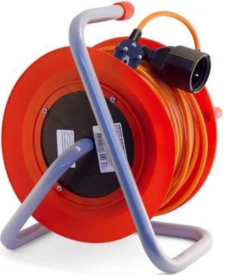 Удлинитель LUX К1-О-50 силовой на катушке пвс 2x0.75 50м 6А выносная розетка б/з удлинитель силовой lux ухз16 003 50м