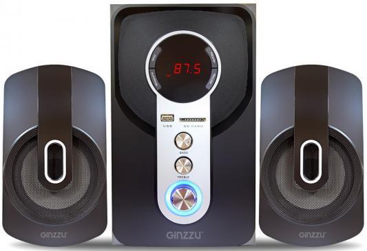 Ginzzu GM-405 2.1 с Bluetooth, выходная мощность 20Вт + 2х10Вт, аудиоплеер USB-flash, SD-card, FM-радио, пульт ДУ - 21 кнопка, стерео вход (2RCA), эквалайзер (обыч