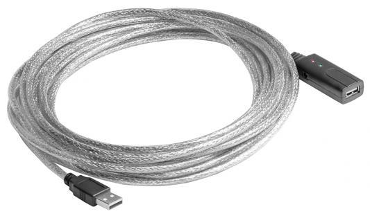 Greenconnect Удлинитель USB 2.0 с активным усилителем сигнала 7.5m AM/AF, 26/24 AWG экран, армированный, морозостойкий, разъём для доп.питания, прозрачный, GCR-50503(GCR-50503)