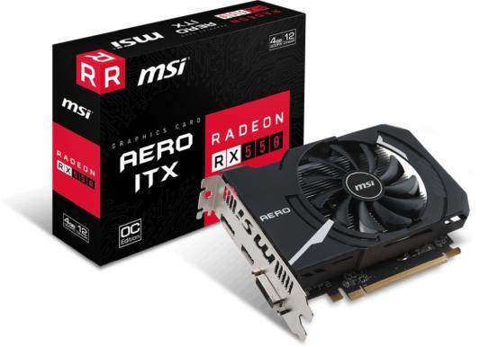Видеокарта MSI Radeon RX 550 Radeon RX 550 AERO ITX 4G OC PCI-E 4096Mb GDDR5 128 Bit Retail (RX 550 AERO ITX 4G OC) видеокарта msi radeon rx 550 radeon rx 550 4gt lp oc pci e 4096mb gddr5 128 bit retail rx 550 4gt lp oc