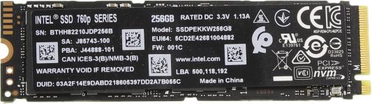 Накопитель SSD Intel Original PCI-E x4 256Gb SSDPEKKW256G801 760p Series M.2 2280 внутренний ssd накопитель 512gb intel ssdpekkw512g801 760p series m 2 2280 pcie nvme 3 0 x4