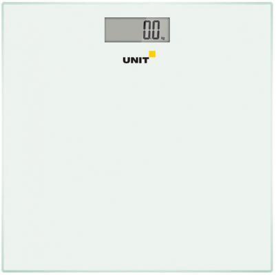 Весы напольные электронные UNIT UBS-2052, стекло, без рисунка, 150кг. 100гр. (Цвет: Белый)