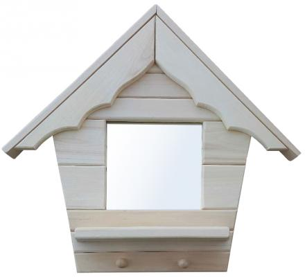 Зеркало с полочкой и вешалкой (2 рожка) Домик Банные штучки 32519 вешалка настенная банные штучки 3 рожка