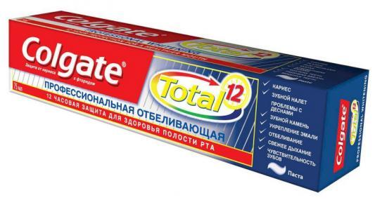 КОЛГЕЙТ Зубная паста TOTAL12 Профессиональная отбеливающая 75мл babycoccole зубная паста со вкусом банана 75мл babycoccole