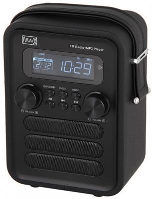 Радиоприемник MAX MR-340 black edition Дисплей с подсветкой, FM радио (87.5-108 МГц), MP3/WMA с USB/microSD, Часы/Будильник/Календарь.