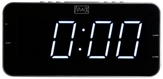"""лучшая цена Часы с радиоприемником MAX CR-2904w Белый LED дисплей,1.8"""",2 будильника,AM/FM радио, Регулировка яркости дисплея,Цвет корпуса серебристый"""