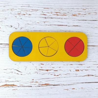 Купить Рамка вкладыш Дроби, Никитин, 3 круга, ур.1, в асс-те, Woodland, Развивающие игрушки из дерева