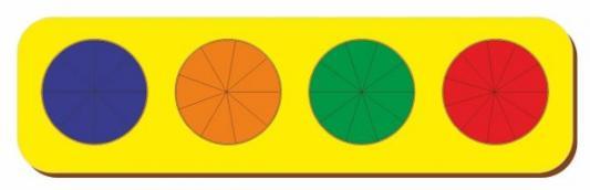 Купить Рамка вкладыш Дроби, Никитин, 4 круга, ур.3, в асс-те, Woodland, Развивающие игрушки из дерева