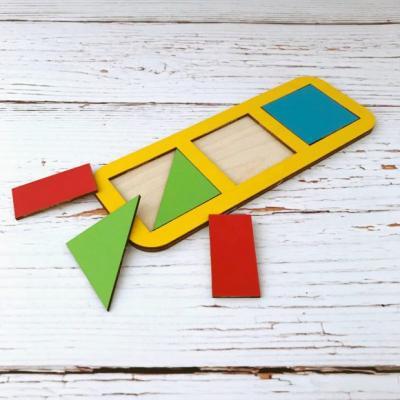 Купить Рамка вкладыш Сложи квадрат, Никитин, 3 квадрата, ур.1, в асс-те, Woodland, Развивающие игрушки из дерева