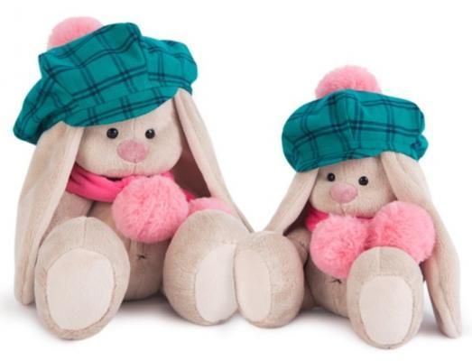 Мягкая игрушка зайка Зайка Ми Зайка Ми в зеленой кепке и розовом шарфе искусственный мех наполнитель пластмасса флис 23 см шапка унисекс с полной запечаткой printio зайка