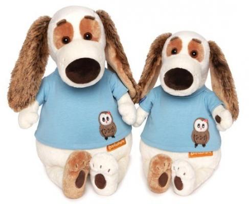 Купить Мягкая игрушка собака Зайка Ми Бартоломей в футболке с совой искусственный мех текстиль пластмасса наполнитель 27 см, разноцветный, искусственный мех, текстиль, пластмасса, наполнитель, Герои мультфильмов
