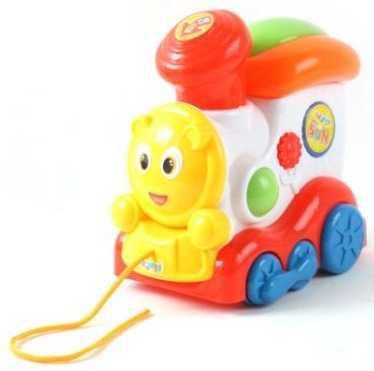 Каталка на шнурке Наша Игрушка Паровозик разноцветный от 1 года пластик 100621968 каталка на палочке наша игрушка пилот пластик от 1 года на колесах красный 8500 1
