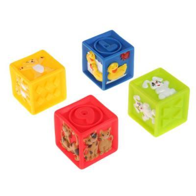 Купить Игрушки пластизоль для купания ИГРАЕМ ВМЕСТЕ кубики с животными (4шт) в сетке в кор.4*24шт, Игрушки для купания