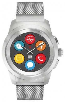 Гибридные смарт часы MyKronoz ZeTime Elite Regular миланский сетчатый браслет цвет матовое серебро, 44 мм