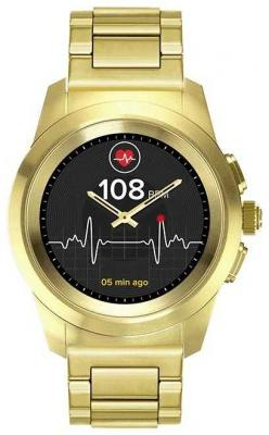 Гибридные смарт часы MyKronoz ZeTime Elite Petite мозаичный металлический ремешок цвет желтое золото, 39 мм цена и фото