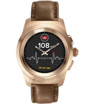 Гибридные смарт часы MyKronoz ZeTime Premium Regular цвет матовое розовое золото, кожаный ремешок цвет коричневый винтаж