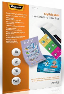 Пленка для ламинирования Stylish Matt стильное матирование, А3 Fellowes Admire, 80 мкм, 25 шт. пленка