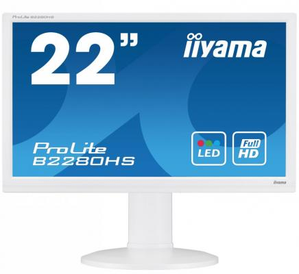 Монитор Iiyama 21.5 ProLite B2280HS-W1 белый TN LED 5ms 16:9 DVI HDMI M/M полуматовая HAS 1000:1 250cd 160гр/160гр 1920x1080 D-Sub FHD 5.2кг 10pcs lot db15 3rows parallel vga port hdb9 15 pin d sub male solder connector metal shell cover
