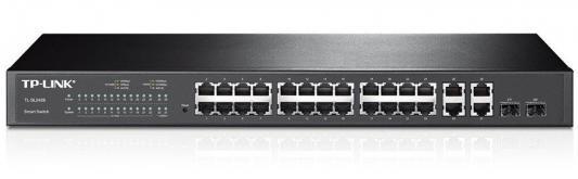 Картинка для Коммутатор TP-LINK T1500-28TC (TL-SL2428) JetStream Smart коммутатор на 24 порта 10/100 Мбит/с и 4 гигабитных порта